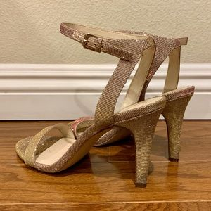 Nine West, rose gold sparkly strappy heels 7 1/2